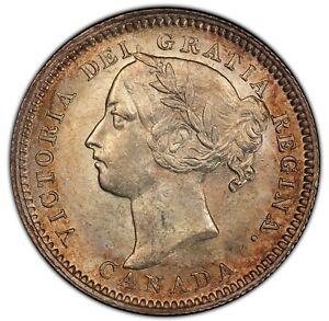1890-H-Canada-10-Cents-Silver-Dime-Coin-Victoria-PCGS-MS-62-Heaton-Mint-KM3-Top
