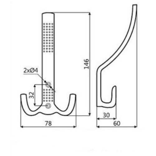 Kleiderhaken 4er Set Chrom matte Ausführung Wandhaken Garderobenhaken aus Metall
