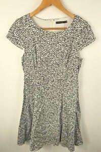 Portmans-Womens-Short-Sleeve-Black-amp-White-A-Line-Corporate-Party-Dress-Size-10