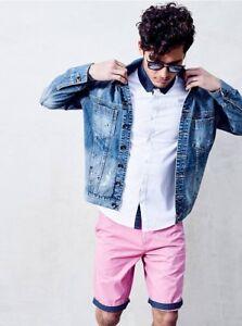 G-By-Guess-Men-s-Noel-Destroyed-Denim-Light-Blue-Jacket-Paint-Splatters-Size-M