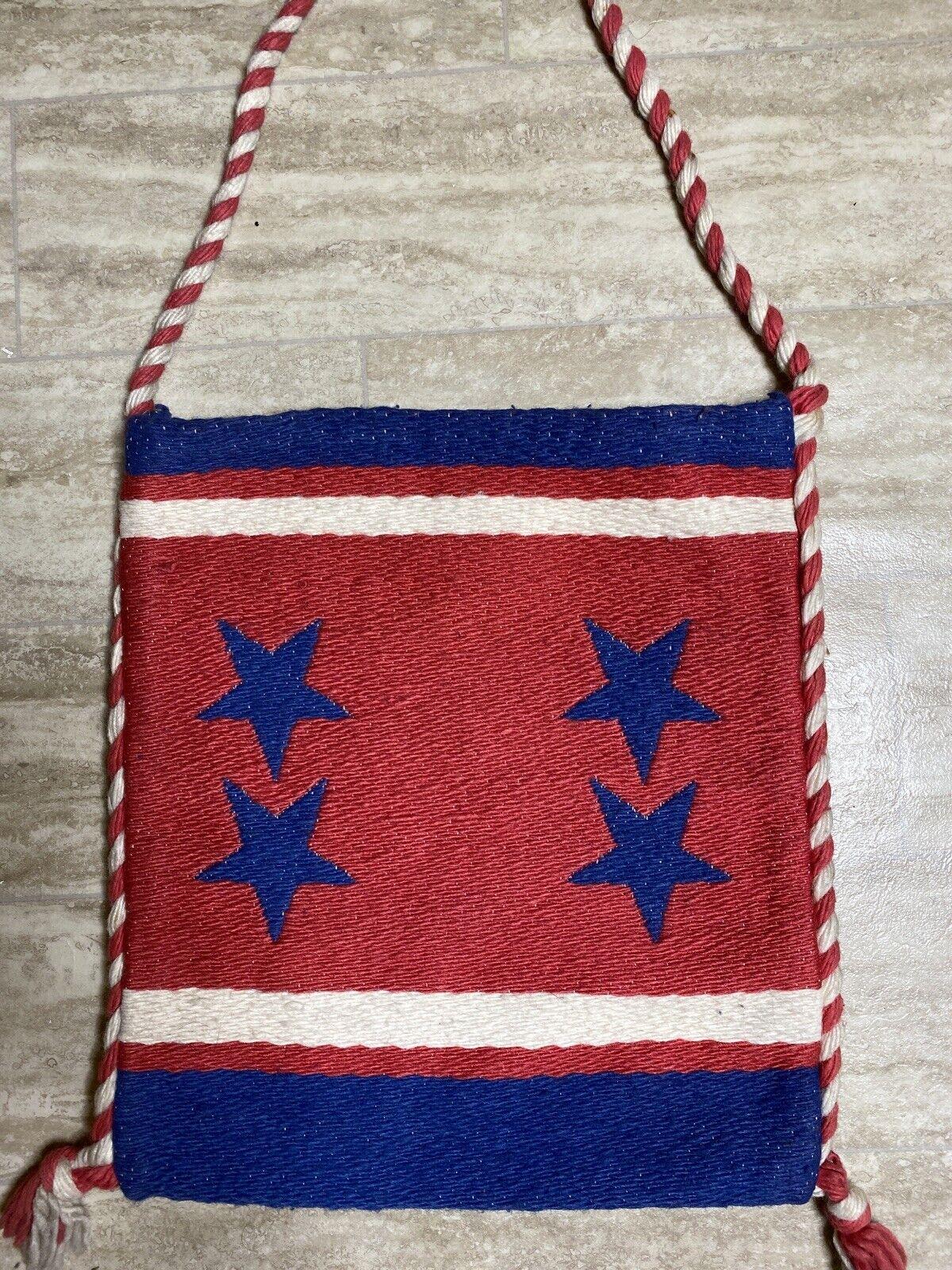 Vintage Made In Greece Spun Rayon Red White Blue Crossbody Bag Purse