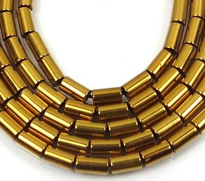 "5x2mm Hematite Metallic Coated Tube Beads 16"" -  Gold"