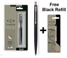 GENUINE PARKER CLASSIC MATT MATTE BLACK BALL POINT PEN CT + Free Black Refill