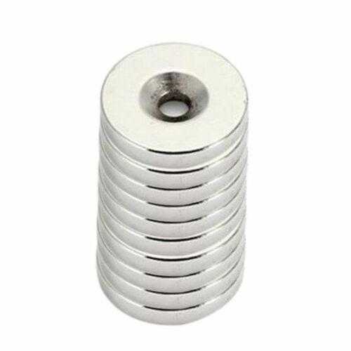 10 Stk Starke Neodym Magnet N52 15x3mm mit Loch Ringe Scheiben Pinnwand Büro