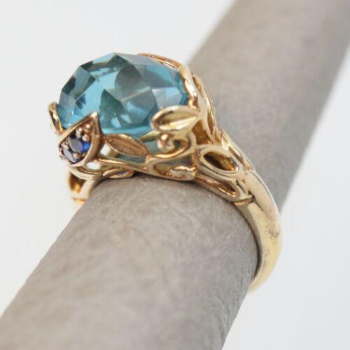 14k Yellow and White Gold Aqua Blue Topaz Ring 5.72g Size 7