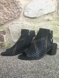 fb5bec3f27cc7a NEW boots SAM EDELMAN Black Leather peep toe booties woven Size 6.5 ...