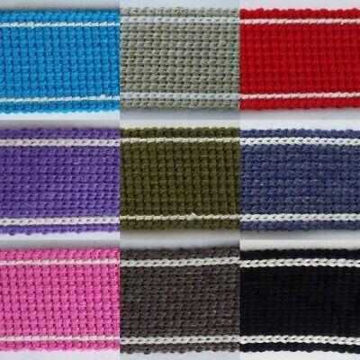 15 COLOUR 30mm Cotton Acrylic Webbing 2mm Thick Bag Handle Belt Strap BUY 1 2 4m