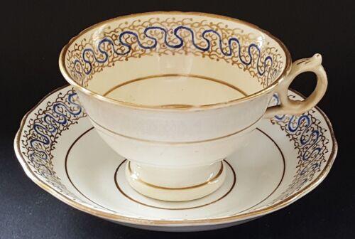 Ridgway blue & gold rim vintage pre Victorian antique cup & saucer duo