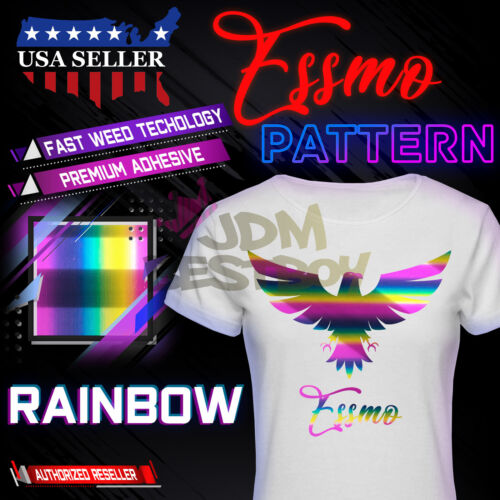 "Essmo™ Rainbow Pattern Heat Transfer Vinyl HTV T-Shirt 20/"" Iron Heat Press SP21"