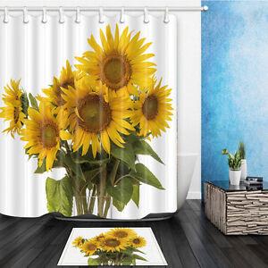 3D Print Cartoon Sunflower Non-slip Bathroom Mat Soft Polyester Fabric Home