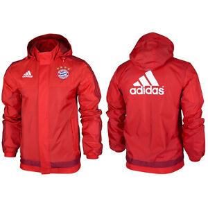 Details zu Adidas Offizielle FC Bayern München Herren Regenjacke Trainingsjacke Fußball XS