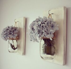 Pair Of Rustic Cream Wall Mounted Hanging Candle Holders/ Flower / Jar / Sconce eBay