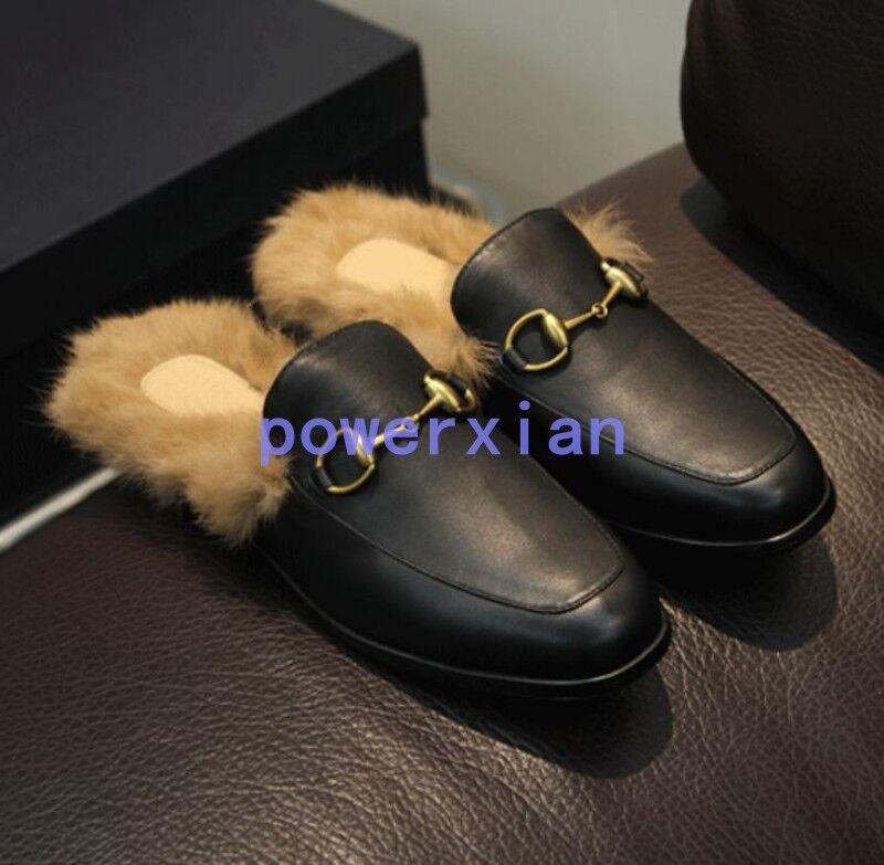 Pantofole da uomo Fashion uomos Fur Part Leather Loafer Shoes Flat Slip On Winter Slippers Plus 44