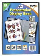 A3 Premium Black Cover Display Book Presentation Folder Portfolio - 10 Pocket