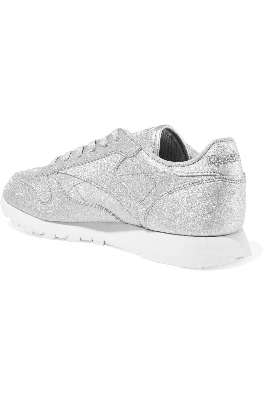 NIB REEBOK CLASSIC Leather  Sneakers in SILVER Metallic  Leather - BLACK  IT 38- IT 40 b1b5cb