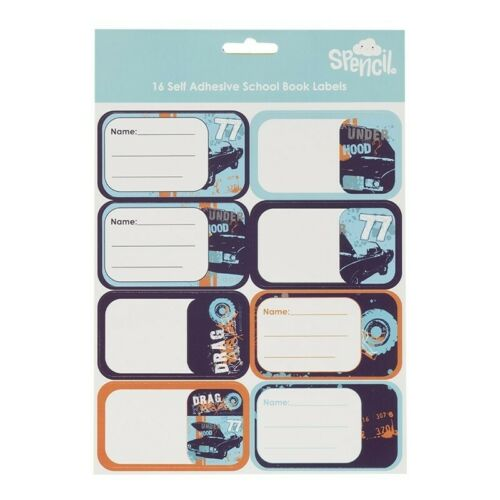 16 self adhesive school book labels NAME AND SUBJECT LABEL STICKERS