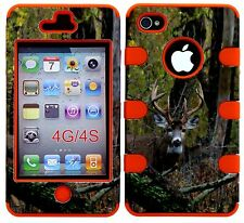 iphone 4 Case, iphone 4s Case, Hybrid Slim Impact Cover Deer Camo on Orange Skin