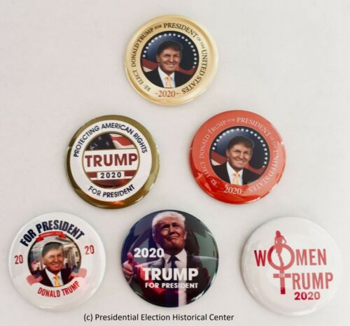 Set of 6 President Donald Trump 2020 Campaign Buttons