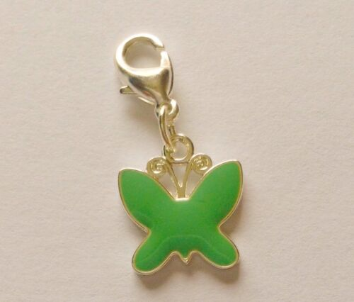 approx 20 mm Butterfly charm enameled Jade coloured  with Girl Power on reverse