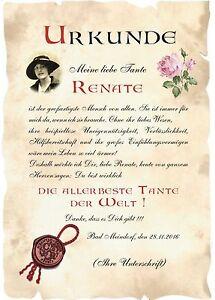 Urkunde Welt Beste Tante Din A4 F1 Valentinstag Geburtstag Ebay