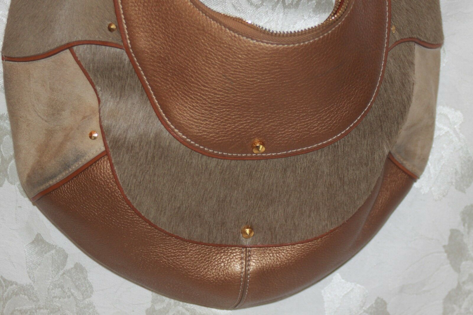 COLE HAAN Gold Fish F05 Large Hobo Handbag Purse … - image 2