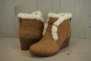 68bb9d1a211 Details about UGG JEOVANA CHESTNUT SUEDE WATERPROOF ANKLE WEDGE BOOTIES  WOMENS US 8 NIB