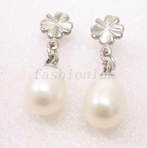 Women/'s Long Earrings Gold Filled Dangle Drop White Faux Freshwater Pearl UK