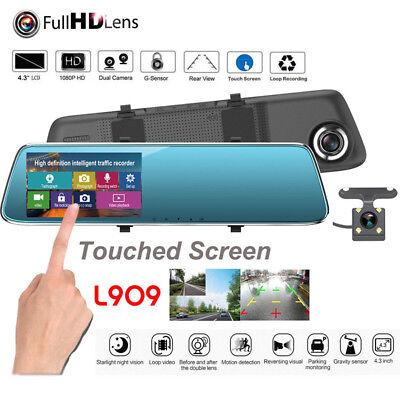 """4.3"""" Auto DVR Rückspiegel Monitor Dash Cam mit Rückfahrkamera 1080p G-Sensor Set"""