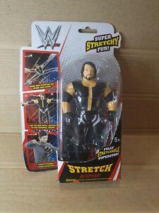WWE-Super-Stretch-Stretching-Spielzeug-Mini-Action-Figur-Puppe-15cm-schwarz-AJ-Styles