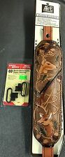 AA&E Padded Brown Deer & Gun Leather   Sling + Swivels-WorldWide shipping