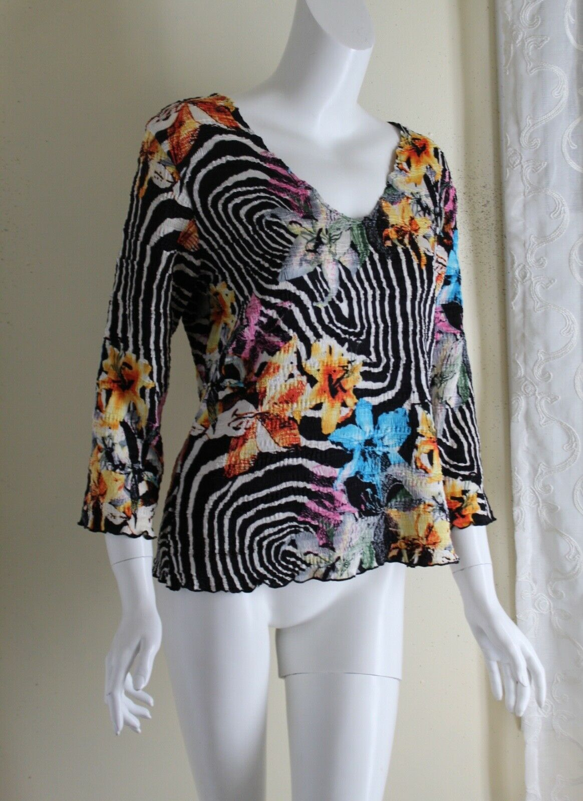 Alberto Makali Pleated Fabulous Funky French Floral V-Neck Top -Sz XL