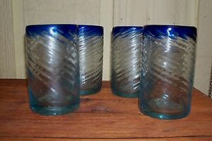 4 VINTAGE HEAVY MEXICAN COBALT BLUE RIM HAND BLOWN BUBBLE SWIRL TUMBLERS