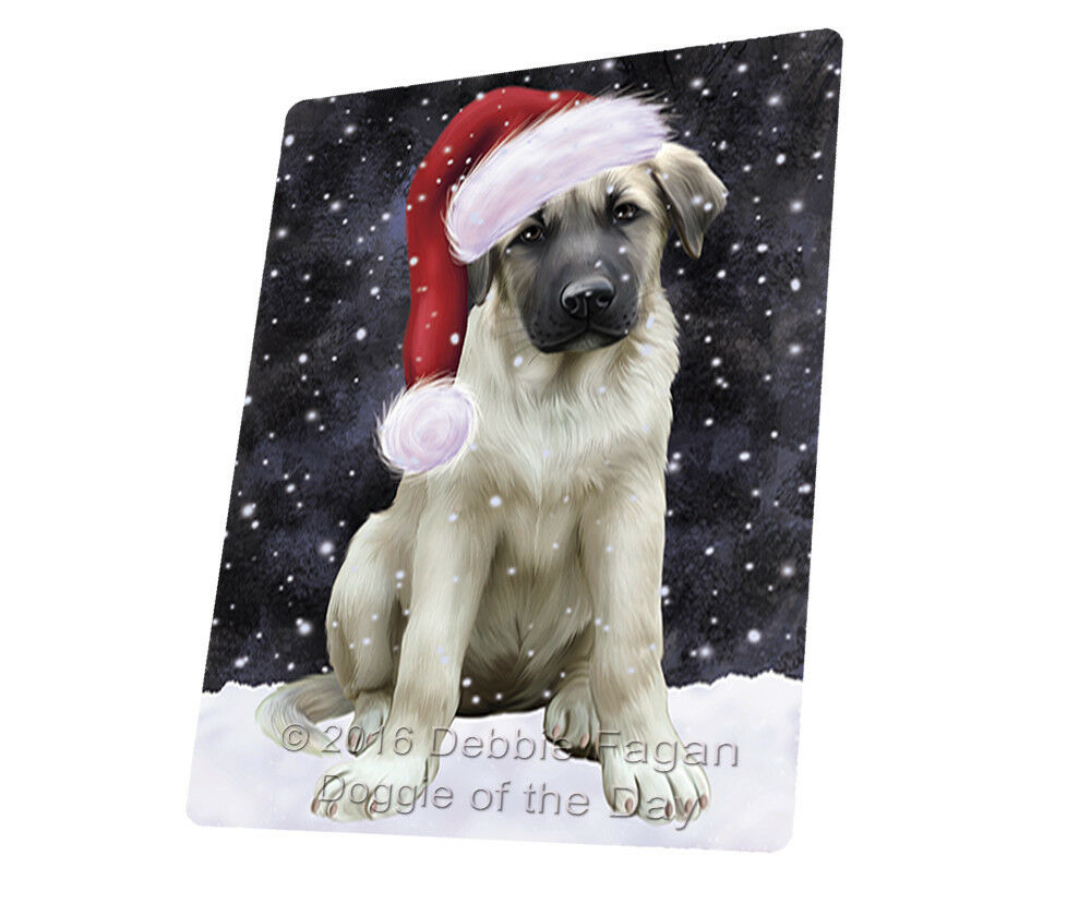 Let it Snow Christmas Anatolian Shepherds Dog Woven Throw Sherpa Blanket T343