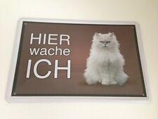 Gatto Bianco di razza Qui mi sveglio ! Tierwarnschild - Piastra in metallo-09