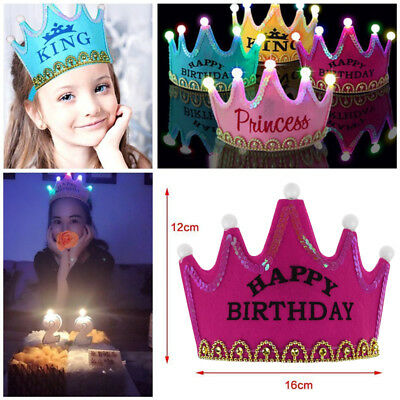 Prince Princess Crown Birthday Party LED Light up Hats Cap Children Kids /&Adult