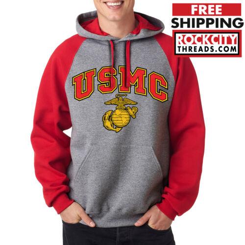 USMC MARINES RAGLAN HOODIE RED United States Military Pullover Sweatshirt