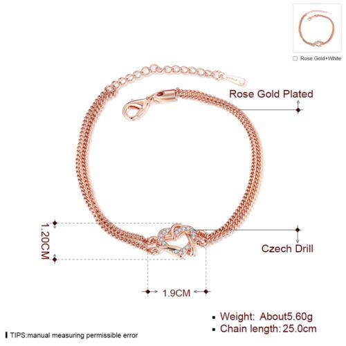 Nueva llegada De Pulsera Chapado en Oro Rosa con Diseño De Corazón De Cristal-Reino Unido Vendedor
