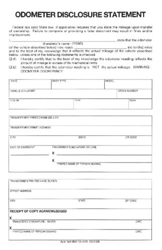 Auto Dealer Odometer Disclosure Statement ODO200-500 QTY