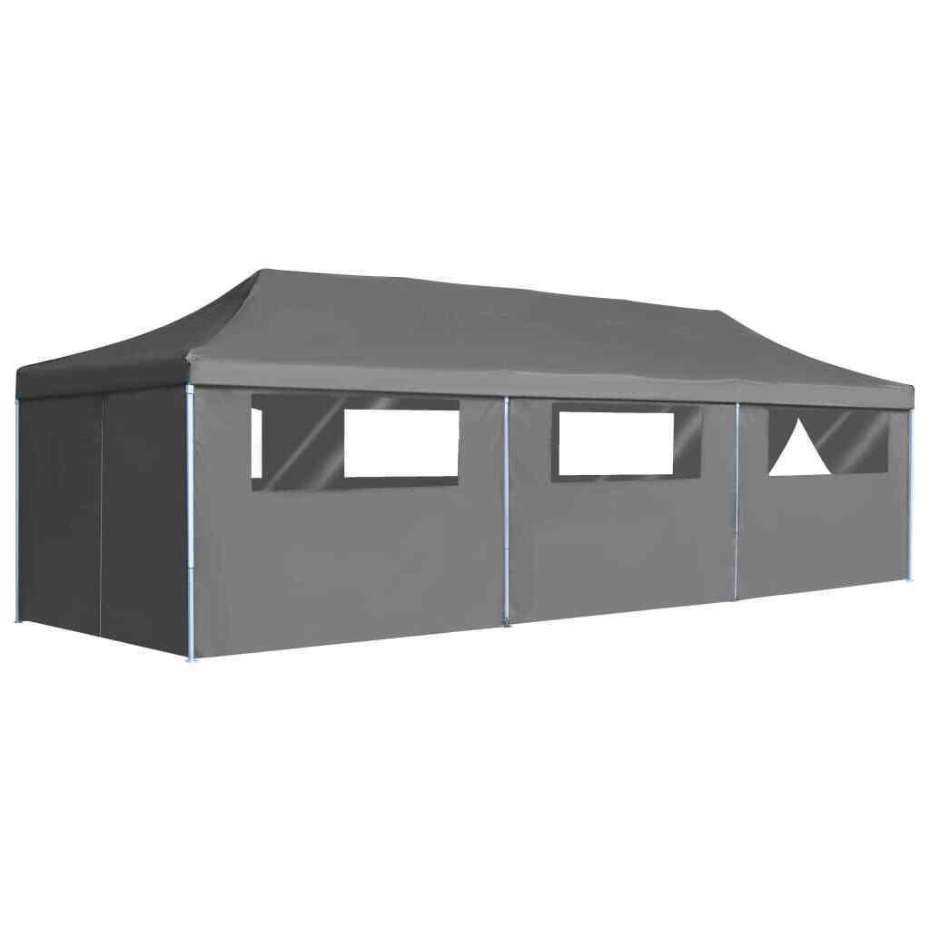 VidaXL Klapp Pop-up Party Zelt mit 8 Sidewalls 3x9m Antracite Marquee