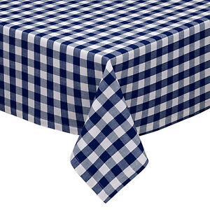 Navy Amp White Cotton Rich Checkered Kitchen Tablecloth