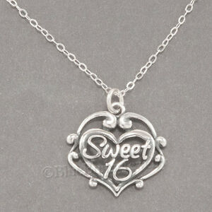 925 Sterling Silver Sweet 16 Charm Pendant