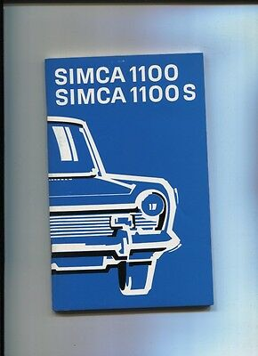 Simca 1100 Et 1100 S Berline : Notice D'entretien D'epoque Avril 1974 Kortingen Sale