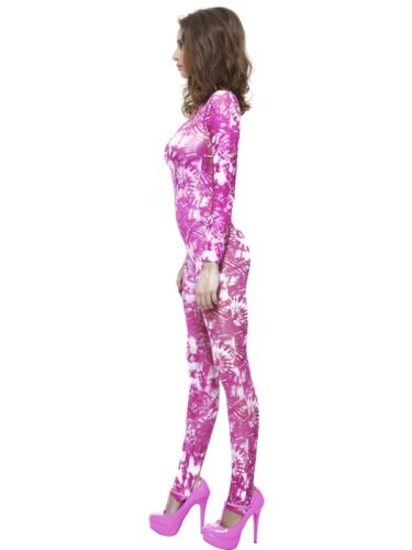 LADIES TIE DYE PINK BODYSUIT FANCY DRESS COSTUME HIPPY HIPPIE 80s CATSUIT OUTFIT