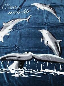 kuscheldecke tagesdecke wohndecke decke plaid delphin motiv i 160x200cm ebay. Black Bedroom Furniture Sets. Home Design Ideas
