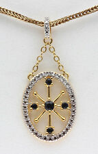 Yellow 18KGold Sterling Silver Diamond Pendant SAPPHIRE Christmas Gift Present