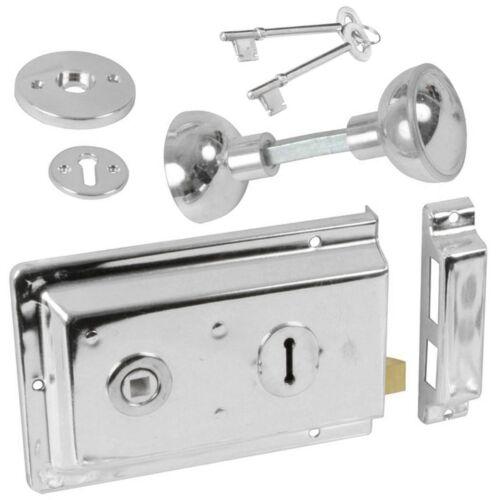 KNOBS High Security Door Rim Lock Latch//Catch SILVER CHROME DOOR SASH BOLT