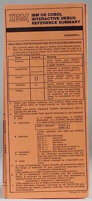 100% Kwaliteit Vintage Ibm: Ibm Os Cobol Interactive Debug Reference Summary (sx28-8194-2)