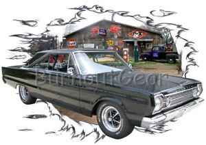 8c5dd9dd 1966 Black Plymouth Satellite a Custom Hot Rod Garage T-Shirt 66 ...