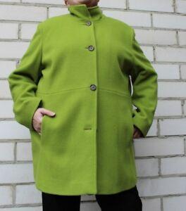 Damen Mantel Wollmantel mit Kaschmiranteil grün elegant