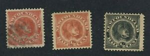 3x-Newfoundland-Dog-stamps-56-1-2c-U-VF-57-1-2c-MHR-F-58-1-2c-MNH-F-GV-85-00